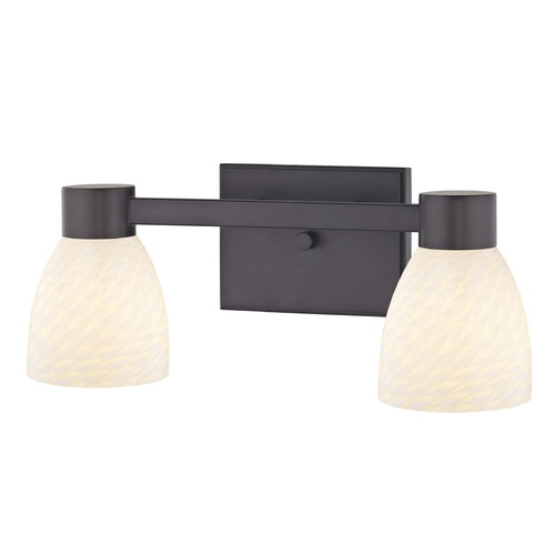 Design Classics Lighting 2-Light White Art Glass Vanity Light Bronze 2102-220 GL1020MB