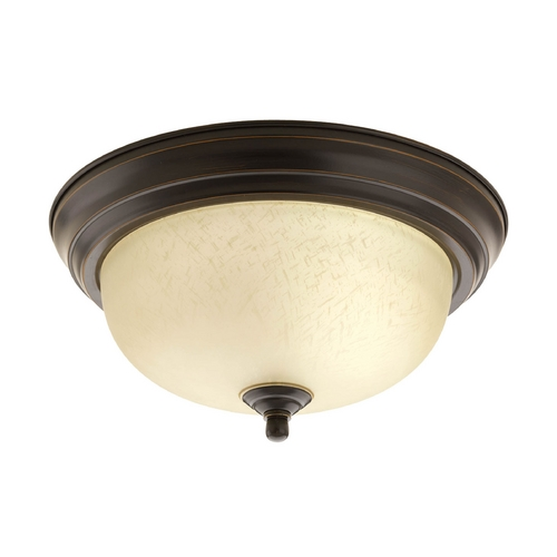 Progress Lighting Flushmount Light with Beige / Cream Glass in Antique Bronze Finish P3924-20EUL