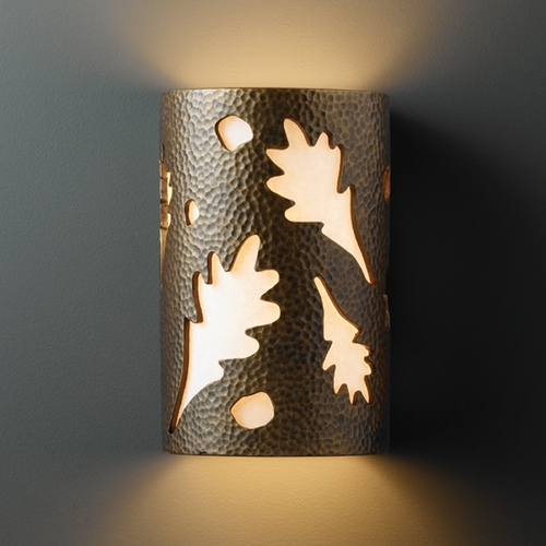 Justice Design Group Sconce Wall Light with White in Hammered Brass Finish CER-7465-HMBR
