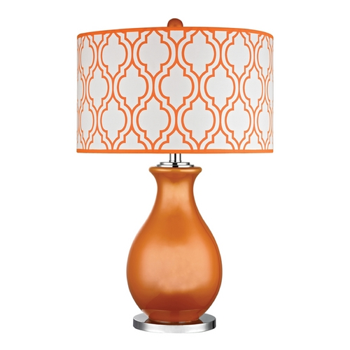 Dimond Lighting Table Lamp in Tangerine Orange with Polished Nickel Finish D2511-LED