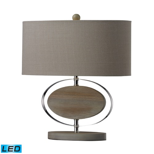 Dimond Lighting Dimond Lighting Bleached Wood, Chrome LED Table Lamp with Oval Shade D2296-LED