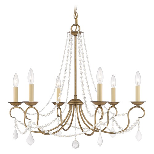 Livex Lighting Livex Lighting Pennington Antique Gold Leaf Crystal Chandelier 6516-48