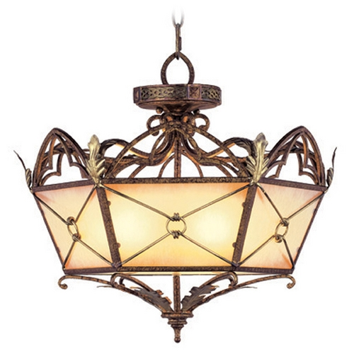 Livex Lighting Livex Lighting Bristol Manor Palacial Bronze with Gilded Accents Pendant Light with Hexagon Shade 8825-64