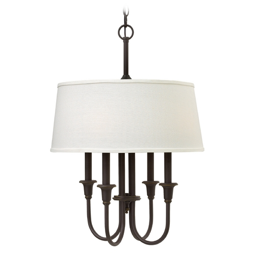 Hinkley Lighting Hinkley Lighting Webster Oil Rubbed Bronze Pendant Light with Drum Shade 3736OZ
