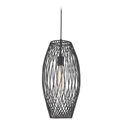 Lite Source Lighting Lite Source Lighting Walworth Black Mini-Pendant with Oblong Shade LS-19739
