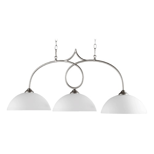 Quorum Lighting Quorum Lighting Brooks Satin Nickel Island Light with Bowl / Dome Shade 6650-3-65