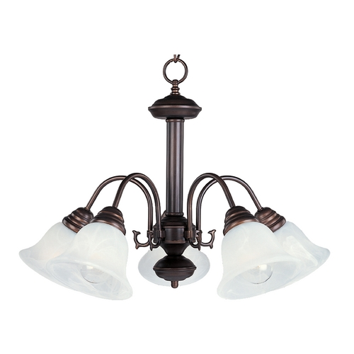 Maxim Lighting Chandelier with White Glass in Oil Rubbed Bronze Finish 2698MROI