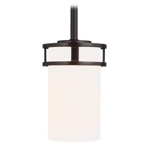 Sea Gull Lighting Sea Gull Lighting Robie Bronze Mini-Pendant Light with Cylindrical Shade 6121601-710