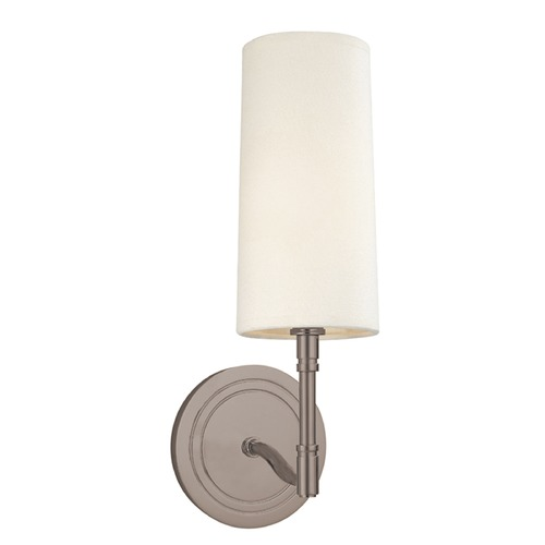 Hudson Valley Lighting Modern Sconce Wall Light with White Shade in Antique Nickel Finish 361-AN