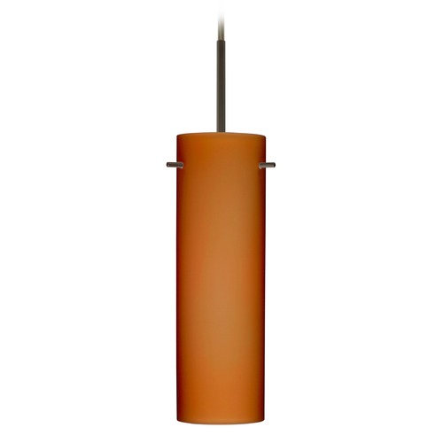 Besa Lighting Besa Lighting Copa Bronze Mini-Pendant Light with Cylindrical Shade 1BT-493080-BR