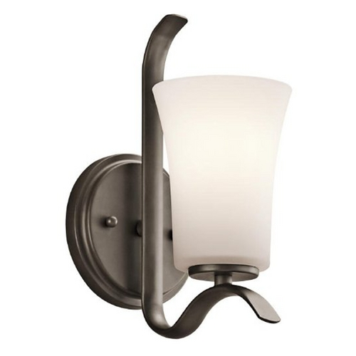 Kichler Lighting Kichler Sconce Wall Light with White Glass in Olde Bronze Finish 45374OZ