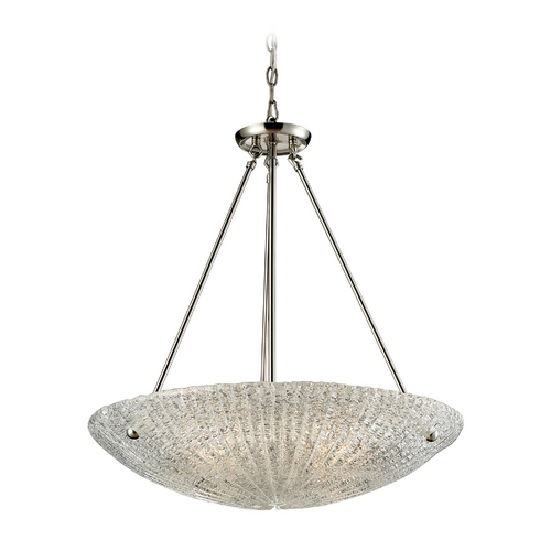 Elk Lighting Modern Pendant Light with White Glass in Satin Nickel Finish 10272/4