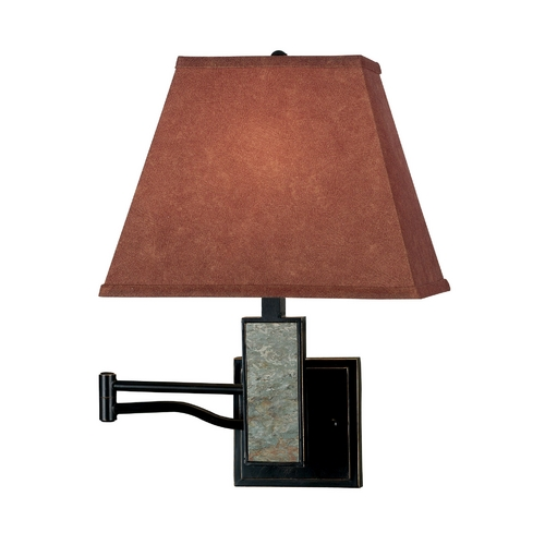 Kenroy Home Lighting Modern Swing Arm Lamp with Brown Tones Paper Shade in Oil Rubbed Bronze Finish 20382SL