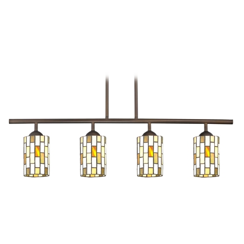 Design Classics Lighting Island Light with Multi-Color Glass in Neuvelle Bronze Finish 718-220 GL1038