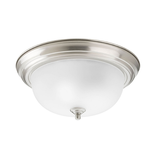 Progress Lighting Flushmount Light with White Glass in Brushed Nickel Finish P3925-09ET
