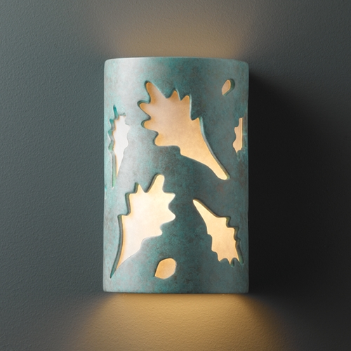Justice Design Group Sconce Wall Light with White in Verde Patina Finish CER-7465-PATV