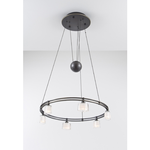 Holtkoetter Lighting Holtkoetter Modern Low Voltage Drum Pendant Light with White Glass in Hand-Brushed Old Bronze Finish 5556 HBOB G5010