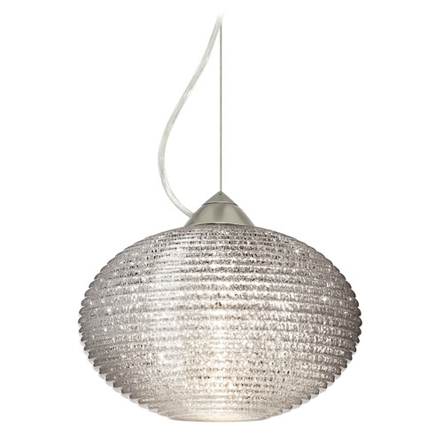 Besa Lighting Besa Lighting Pape Ribbed Glass Satin Nickel Pendant Light 1KX-4913GL-SN