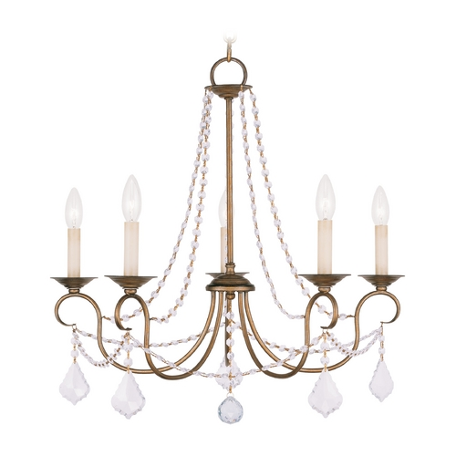 Livex Lighting Livex Lighting Pennington Antique Gold Leaf Crystal Chandelier 6515-48