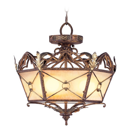 Livex Lighting Livex Lighting Bristol Manor Palacial Bronze with Gilded Accents Pendant Light with Hexagon Shade 8824-64