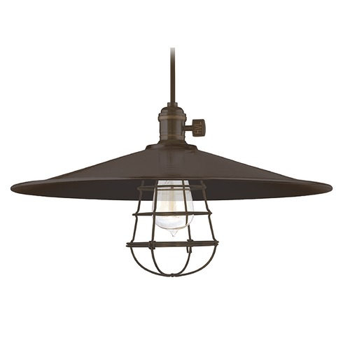Hudson Valley Lighting Hudson Valley Lighting Heirloom Old Bronze Pendant Light with Coolie Shade 8001-OB-ML1-WG