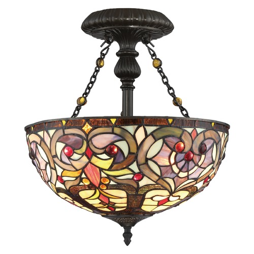 Quoizel Lighting Quoizel Lighting Tiffany Vintage Bronze Semi-Flushmount Light TF1714VB