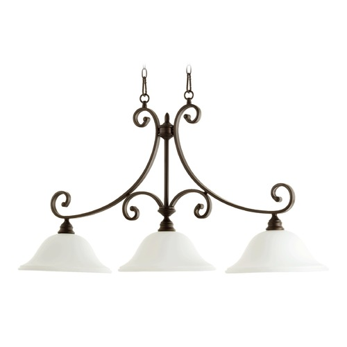 Quorum Lighting Quorum Lighting Bryant Oiled Bronze Island Light with Bowl / Dome Shade 6654-3-186