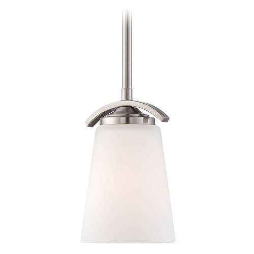 Minka Lavery Overland Park Brushed Nickel Mini-Pendant Light with Cylindrical Shade 4961-84