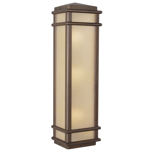 Feiss Lighting Outdoor Wall Light with Amber Glass in Corinthian Bronze Finish OL3404CB