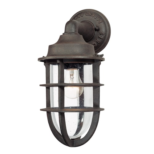 Troy Lighting Seeded Glass Outdoor Wall Light Nautical Rust Troy Lighting B1866NR