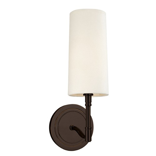Hudson Valley Lighting Modern Sconce Wall Light with White Shade in Old Bronze Finish 361-OB