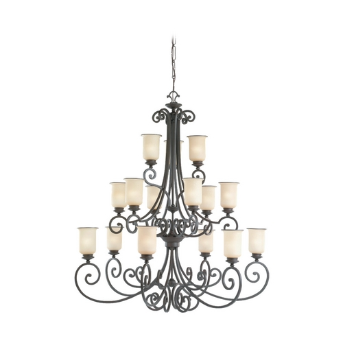 Sea Gull Lighting Chandelier with Champagne Seeded Glass in Misted Bronze Finish 31347-814