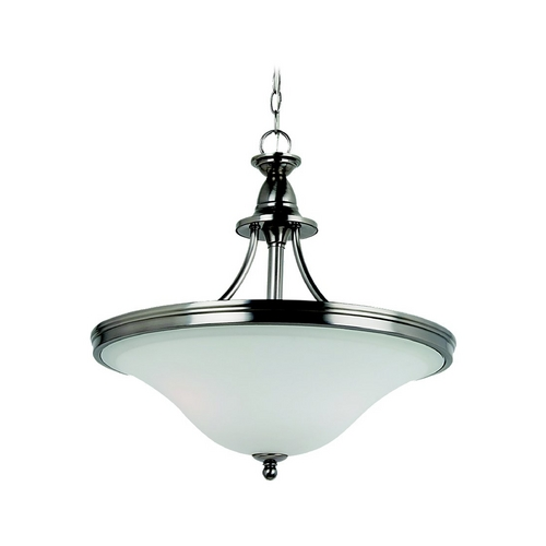 Sea Gull Lighting Pendant Light with White Glass in Antique Brushed Nickel Finish 65851-965