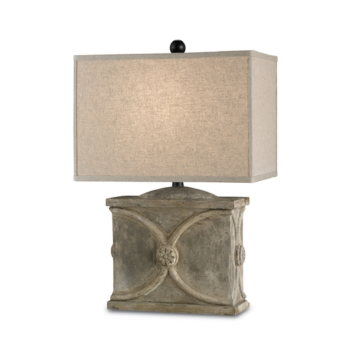 Currey and Company Lighting Table Lamp with Beige / Cream Shade in Portland Finish 6014