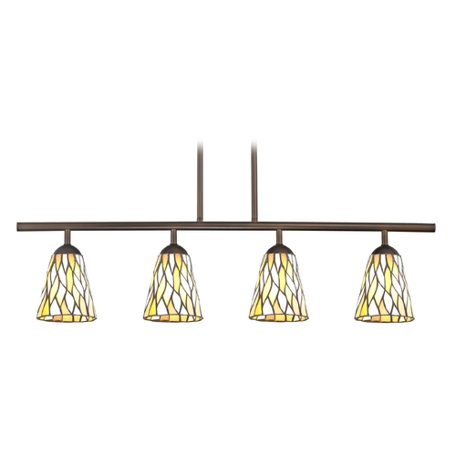 Design Classics Lighting Island Light with Multi-Color Glass in Neuvelle Bronze Finish 718-220 GL1037