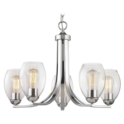 Design Classics Lighting Chrome Chandelier with Clear Oblong Glass and 5-Lights 584-26 GL1034-CLR