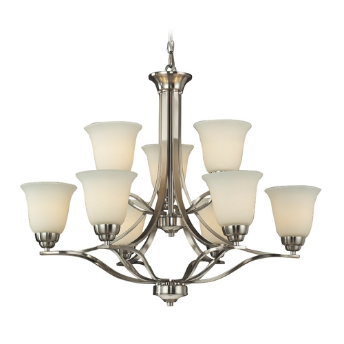 Elk Lighting LED Chandelier with White Glass in Brushed Nickel Finish 11524/6+3-LED