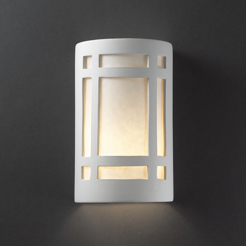 Justice Design Group Sconce Wall Light with White in Bisque Finish CER-7485-BIS