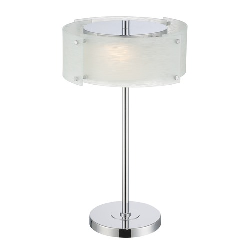 Lite Source Lighting Lite Source Kaelin Chrome Table Lamp with Drum Shade LS-22420C/FRO