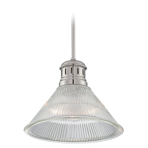Lite Source Lighting Lite Source Lighting Gale Polished Steel Pendant Light with Coolie Shade LS-19792