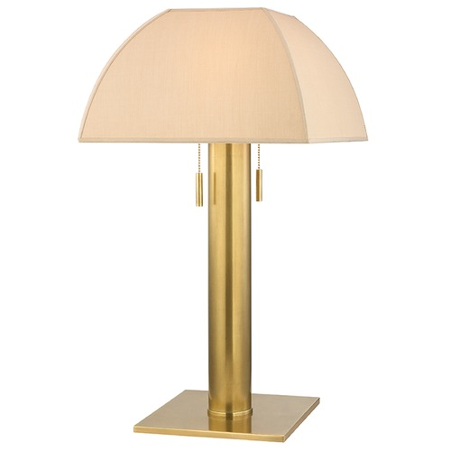 Hudson Valley Lighting Alba 2 Light Table Lamp Square Shade - Aged Brass L246-AGB-N