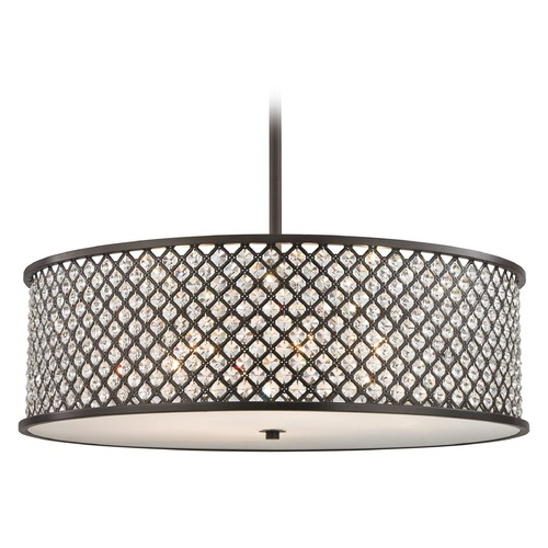 Elk Lighting Elk Lighting Genevieve Oil Rubbed Bronze Pendant Light with Drum Shade 32106/6