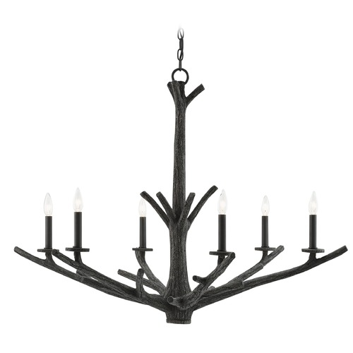 Currey and Company Lighting Currey and Company Arboria Distressed Black/satin Black Chandelier 9000-0033