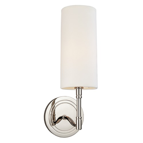 Hudson Valley Lighting Modern Sconce Wall Light with White Shade in Polished Nickel Finish 361-PN