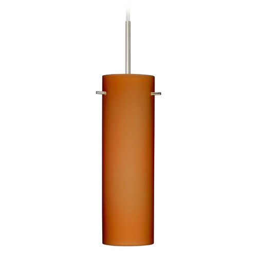 Besa Lighting Besa Lighting Copa Satin Nickel Mini-Pendant Light with Cylindrical Shade 1BT-493080-SN