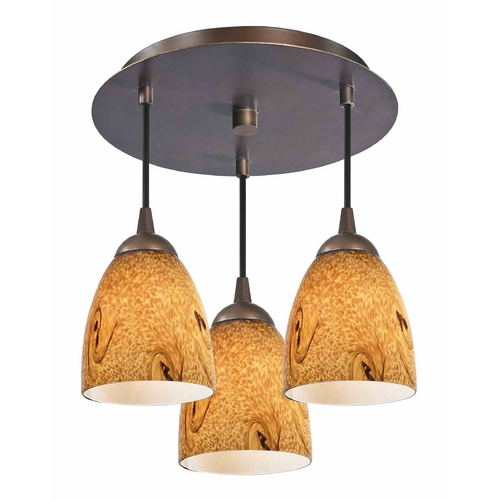Design Classics Lighting 3-Light Semi-Flush Ceiling Light with Bell Art Glass - Bronze Finish 579-220 GL1001MB