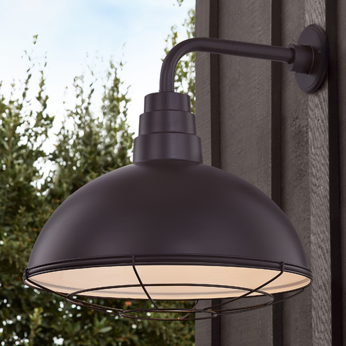 Recesso Lighting by Dolan Designs Bronze Gooseneck Barn Light with 18-Inch Caged Dome Shade BL-ARMD2-BZ/BL-SH18D/CG18S