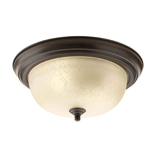 Progress Lighting Flushmount Light with Beige / Cream Glass in Antique Bronze Finish P3925-20EUL