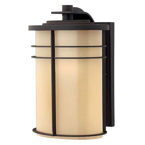 Hinkley Lighting Outdoor Wall Light with Yellow Glass in Museum Bronze Finish 1124MR