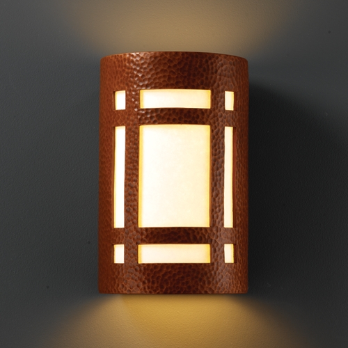 Justice Design Group Sconce Wall Light with White in Hammered Copper Finish CER-7485-HMCP